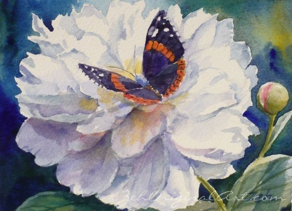 White Peony and Butterfly Watercolor Painting  Butterflies  Moths