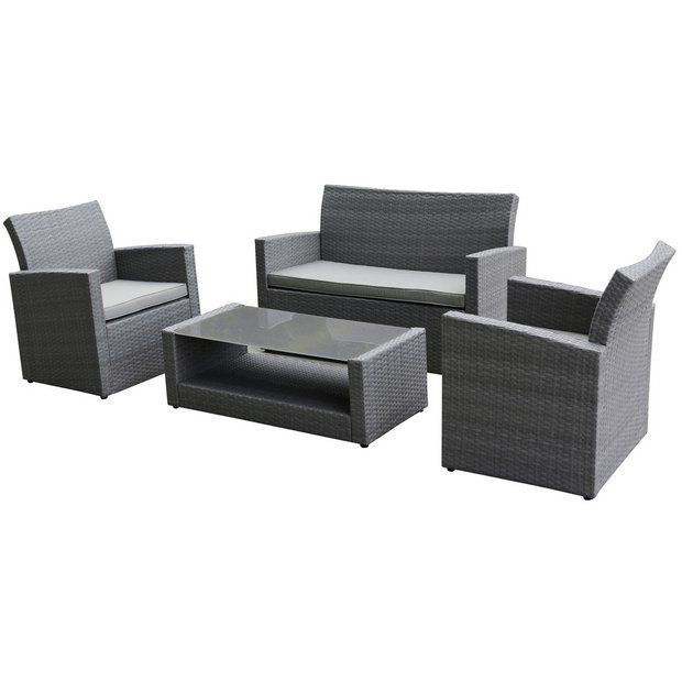 Buy Collection Havana Rattan Effect Grey 4 Seater Sofa Set at Argos