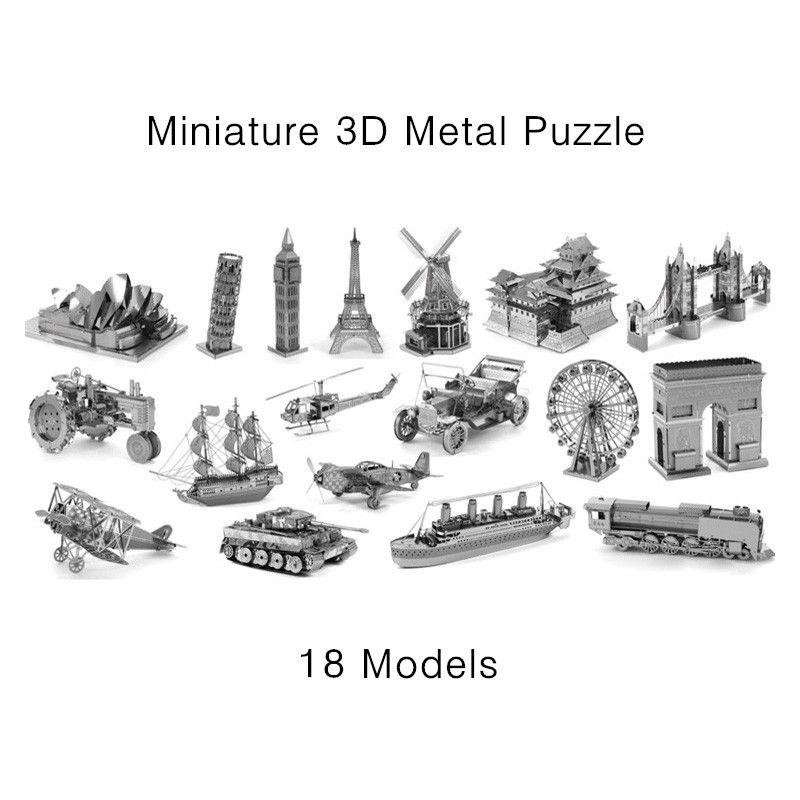 Miniatura Metal 3D rompecabezas modelo Kits de construcción de corte por láser sólido Jigsaw escala modelo de aviones de combate tanque del coche helicóptero