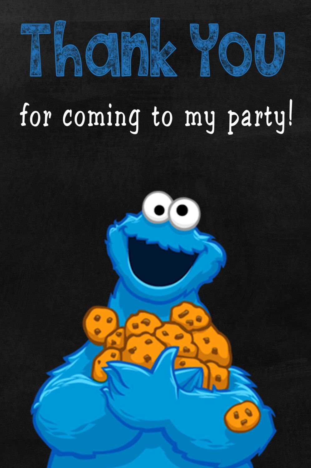 Cookie Monster Thank You Card Thank You Note Thank You By Kidspartysuppliespl On Etsy Http Monster 1st Birthdays Cookie Monster Birthday Cookie Monster Party
