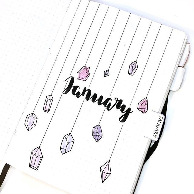 January cover page! ???????? My theme this month is gems/crystals & the colour is purple {inspired by @amandarachdoodles }  ______________________________________________#bulletjournalcoverpage  #bulletjournal #bulletjournaling #bulletjournalnewbie #journaling #journal #bujo #bulletjournalideas #bulletjournalinspiration #bujojunkies #bujoideas #journaladdict #journalling #planner #planneraddict #2018 #coverpage #bujo2018 #bujosetup #2018bulletjournal #bulletjournalsetup #doodles #cray #augustbulletjournal