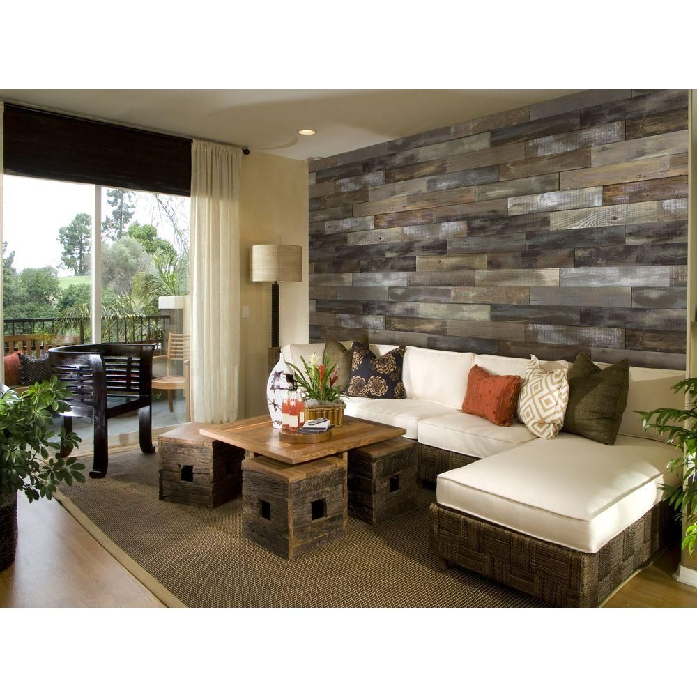 Wall Board Home Depot nuvelle deco planks weathered gray 1/2 in. thick x 4 in. wide x 24
