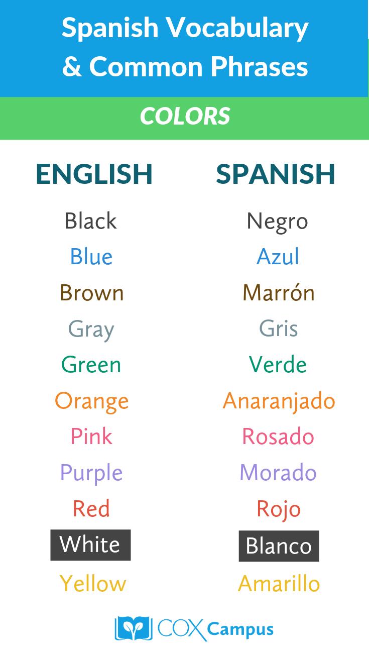 Spanish Vocabulary Common Phrases Colors Spanish Vocabulary Common Phrases How To Speak Spanish [ 1300 x 735 Pixel ]
