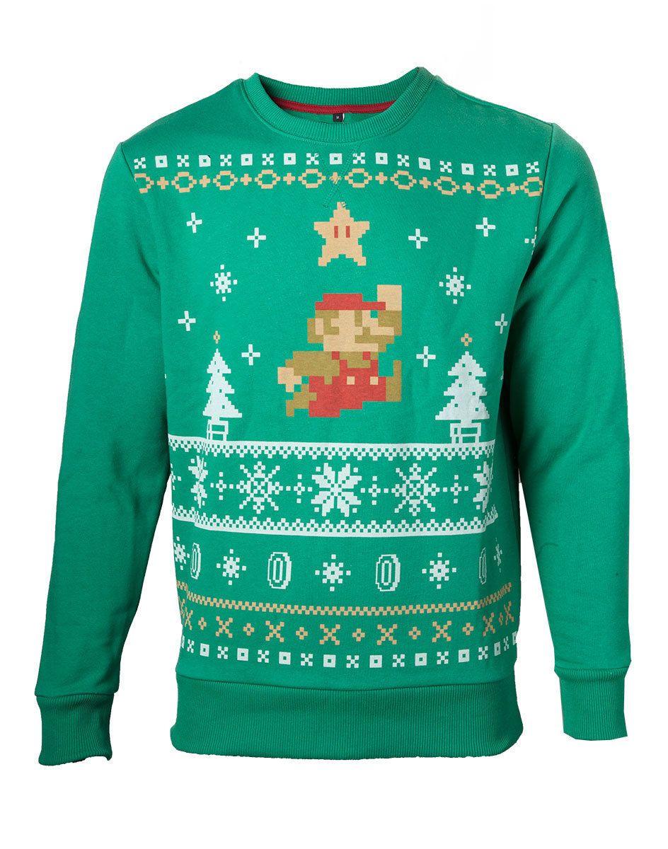 Classic Retro Mario Jumper Green Christmas Sweater #classic #retro ...
