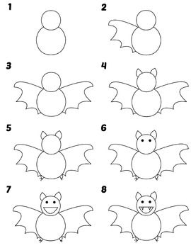 Directed Draw Bat No Prep Easy Drawings Halloween Pictures To Draw Halloween Drawings