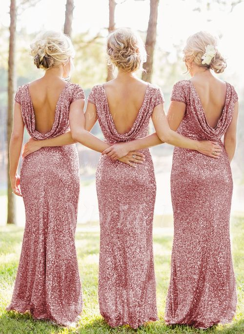 Sheath Column Scoop Neck Floor Length Sequined Zipper Up At Side Sleeves Short No Other Colors Spring Summer Fall General Pink Bridesmaid Dress