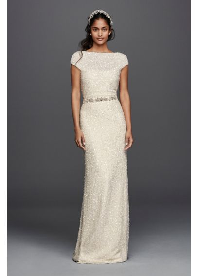 Hand Beaded Sheath Cap Sleeve Wedding Dress at David s Bridal ... 9f2cb0214e46