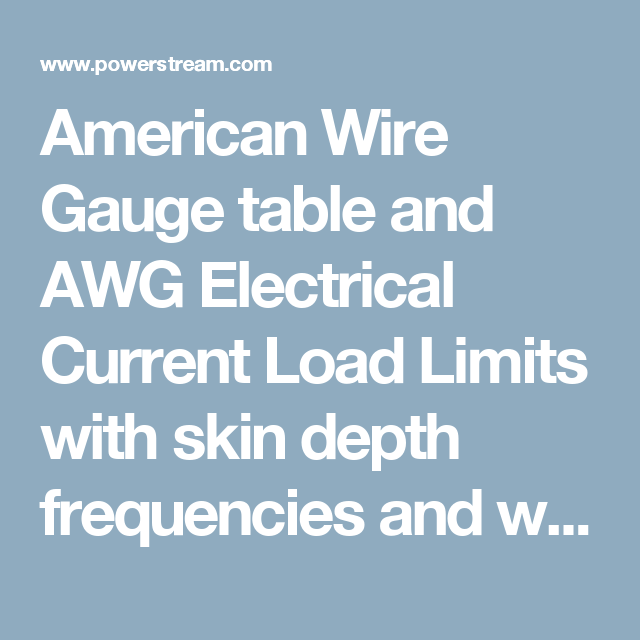 American wire gauge table and awg electrical current load limits american wire gauge table and awg electrical current load limits with skin depth frequencies and wire greentooth