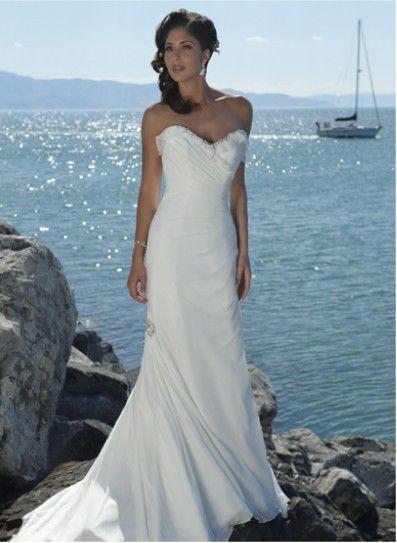 Beach Chic Wedding | 2011 Simple Style White Chiffon Sweetheart ...