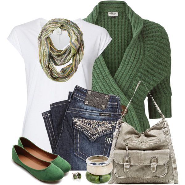 Green Flats by daiscat on Polyvore featuring moda, People Tree, Witchery, Miss Me, Ollio, T-shirt & Jeans, MOOD and Vintage