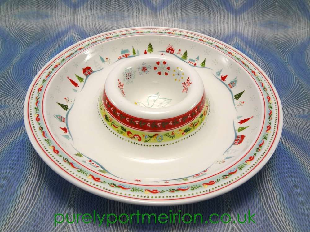Portmeirion Christmas Wish Chip And Dip Bowl