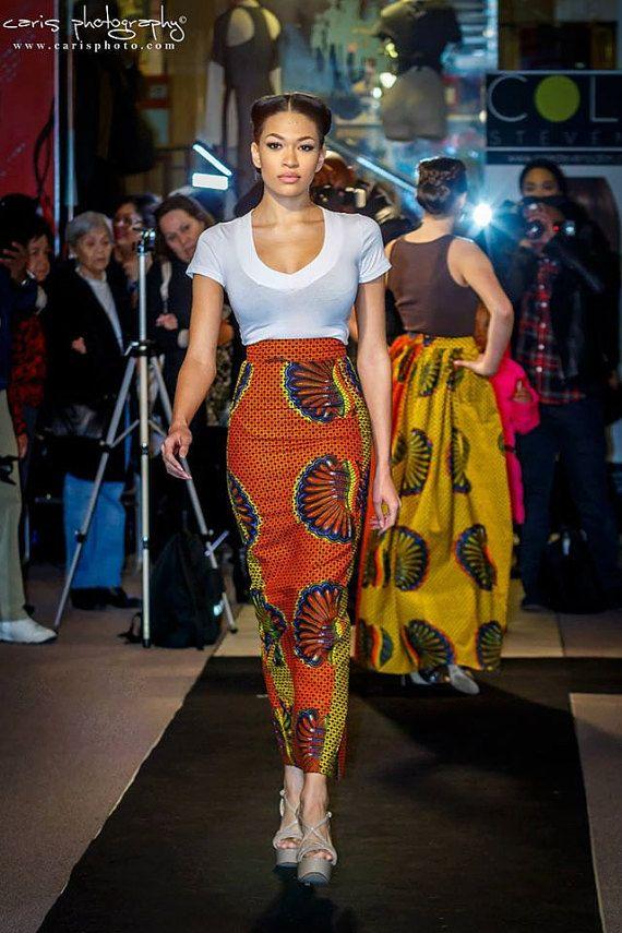 taille haute imprim africain jupe maxi crayon 42 pouces de long comportant un beau m lange de. Black Bedroom Furniture Sets. Home Design Ideas