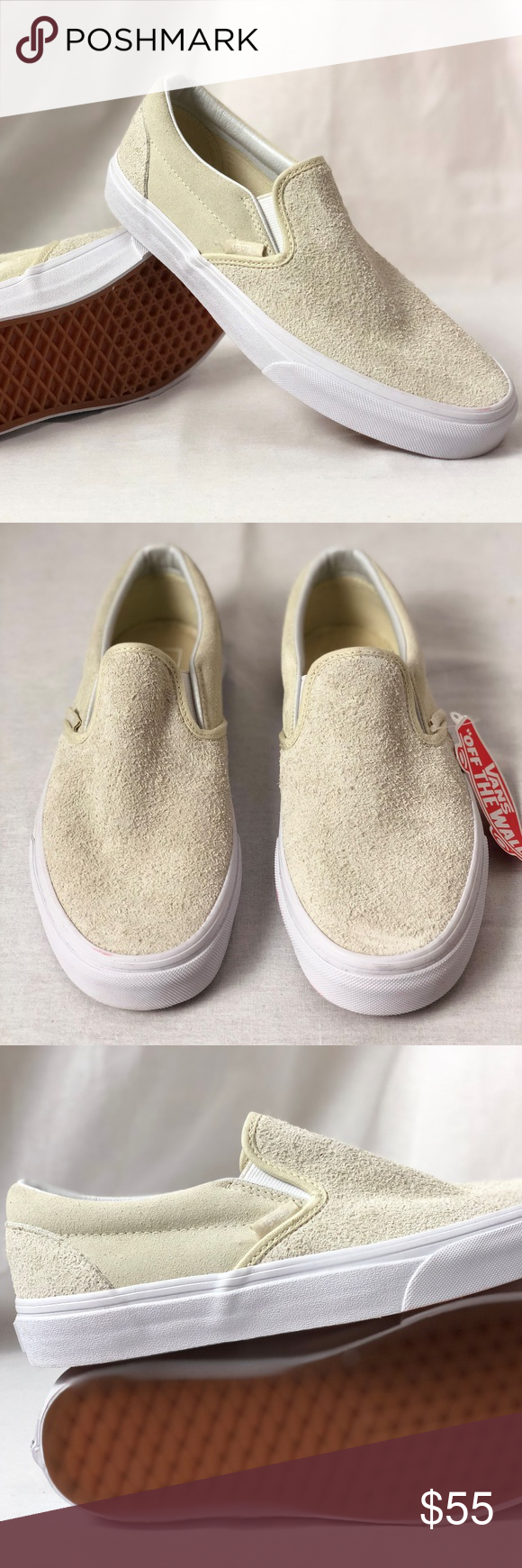 9a1d8fd539 Vans Classic Slip On White Hairy Suede Turtledove Vans Classic Slip On  White Hairy Suede Turtledove. Condition  New with box. Size  Women s 8.5