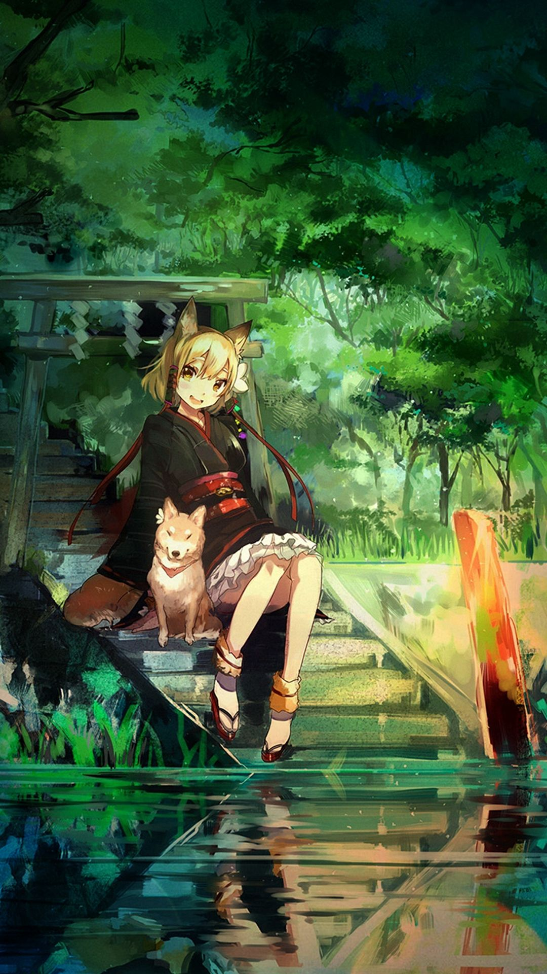 Girl And Dog Green Nature Anime Art Illust Iphone 8 Wallpapers