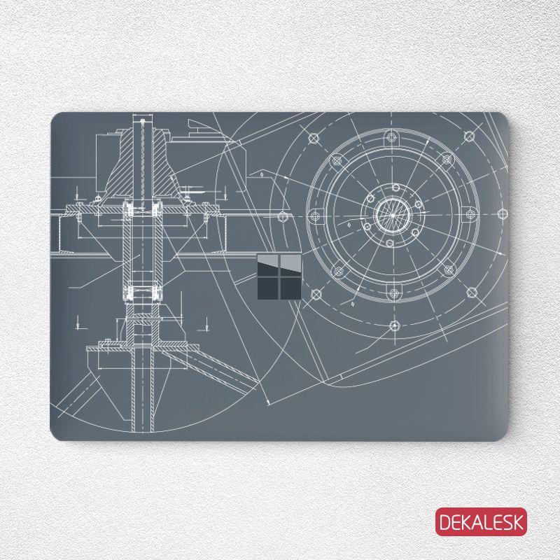 Engineering Drawing Surface Laptop Top Lid Skin Surface