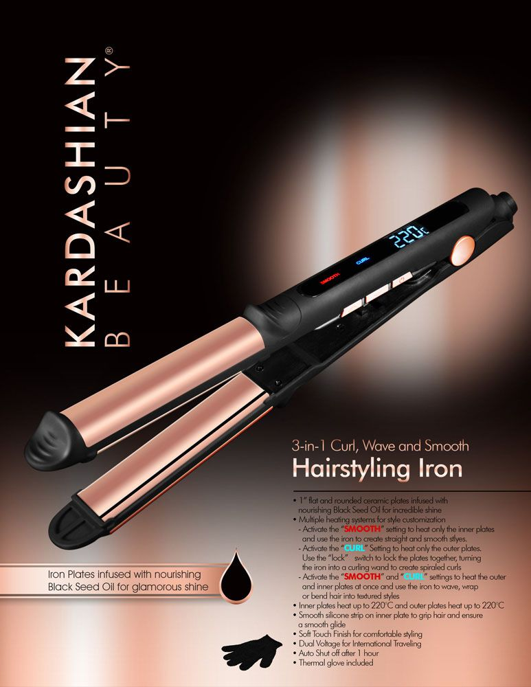 Kardashian Beauty 3 In 1 Ceramic Hairstyling Iron Kardashian Beauty Styling Wand Flat Iron Hair Styles