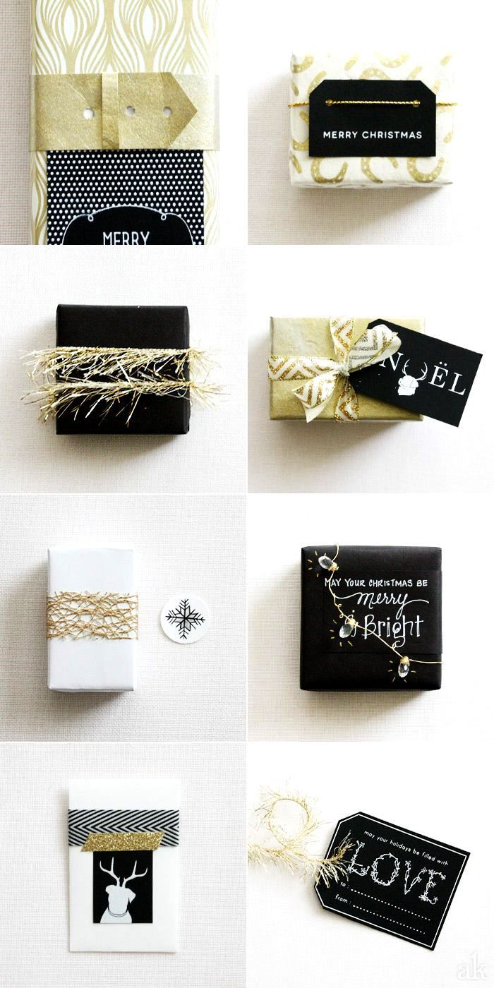 black, white and gold. festive gift wrap. #christmas | LIFE | Gifts ...