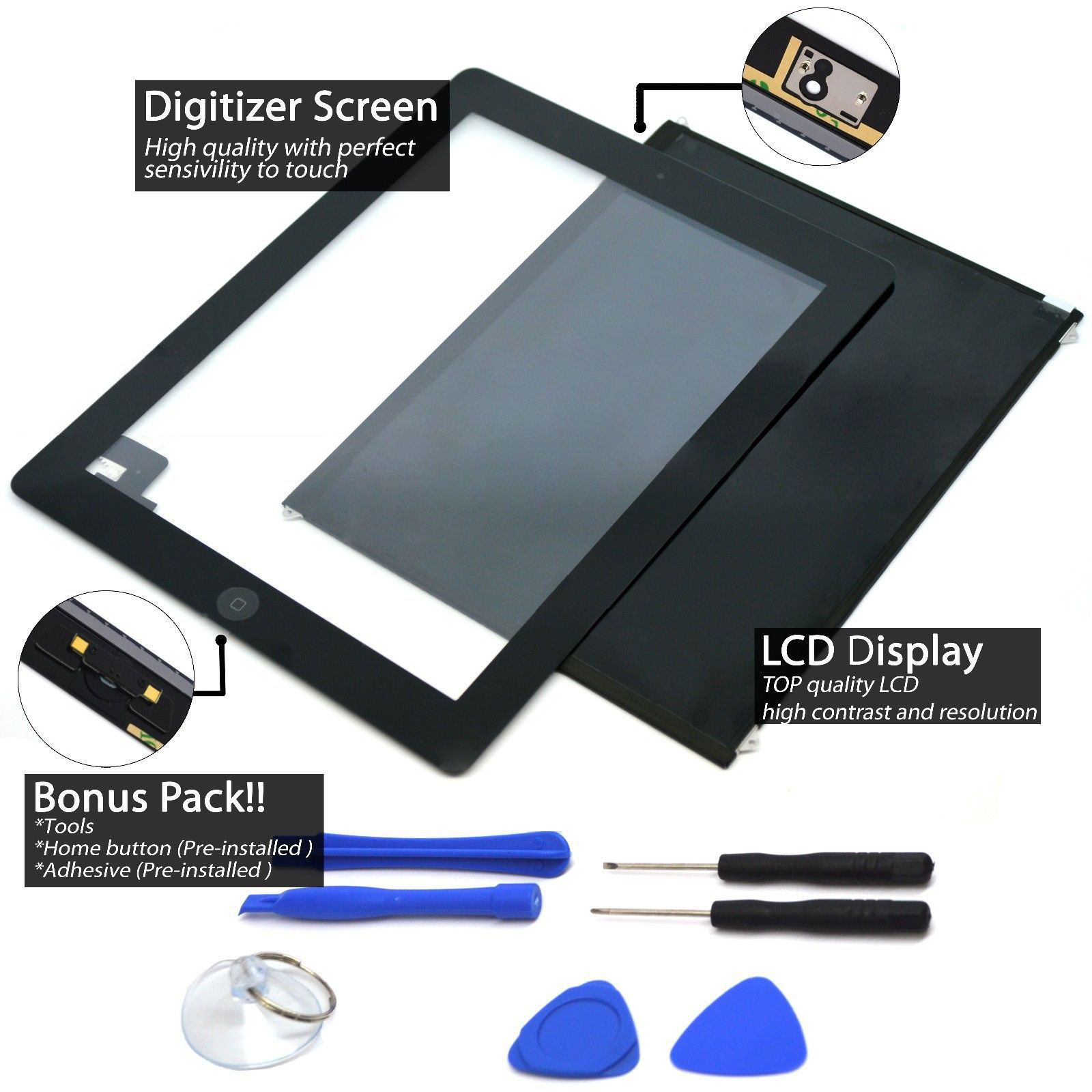 LOT Touch Screen Digitizer Replacement Apple iPad Black-White With Home Button