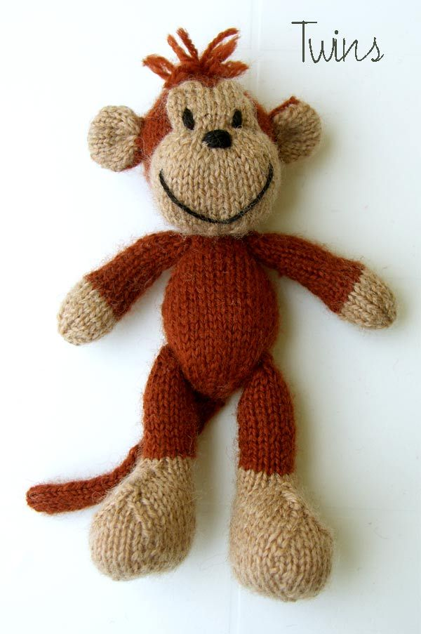 ($ 5 USD)   for Advanced Beginner Knitters       Standing Titus the Monkey measures about 23 cm (9 inch) to tip of head, sitting – 14,5 cm ...