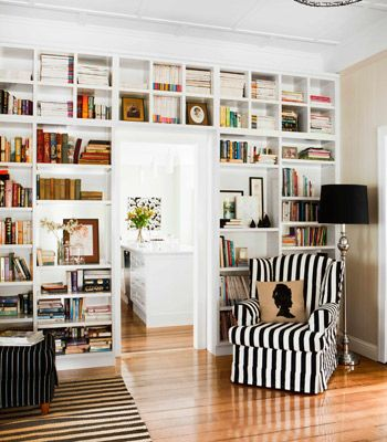 love the built-in book shelf, the striped armchair, and silhouette
