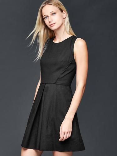 07fe78eccf2 Gap-Womens-Black-Linen-cotton-fit-flare-dress-Size-4-Tall