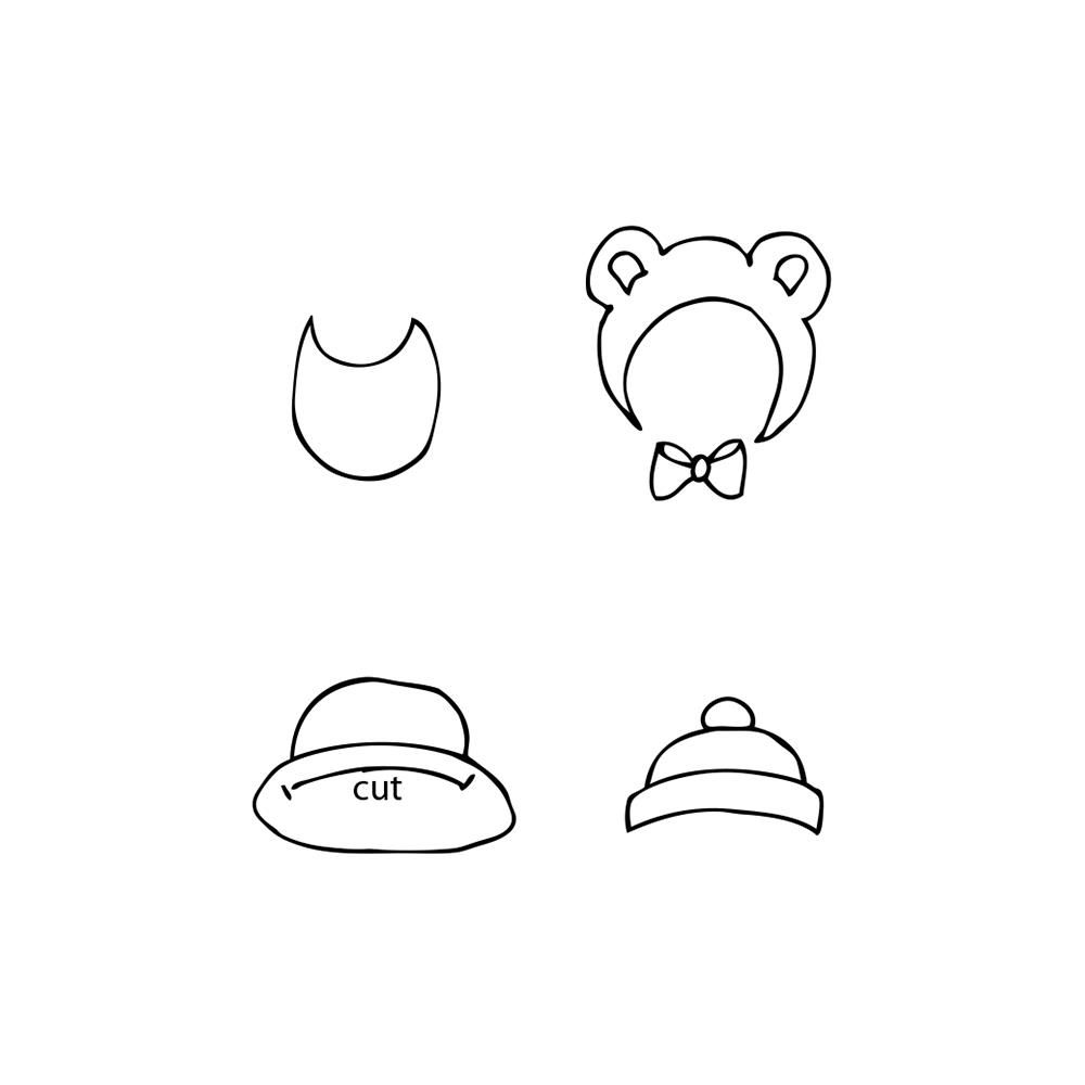 Prima - Cling Mounted Rubber Stamp - by Julie Nutting - Baby Hat & Bib Set