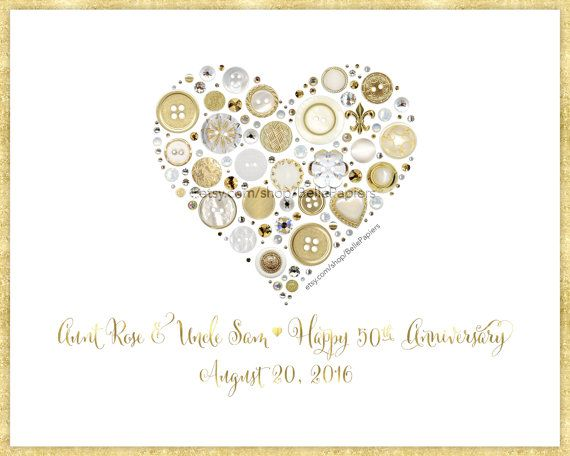 Golden Anniversary Gifts 50th Anniversary Fiftieth Anniversary Framed Heart Gold Butto Golden Anniversary Gifts Anniversary Frame Anniversary Gifts For Husband