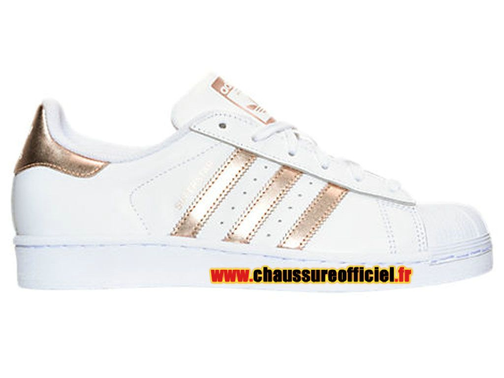 2be8a721f07 Adidas Superstar Chaussures Adidas Pas Cher Pour Femme Blanc   Or BA8169
