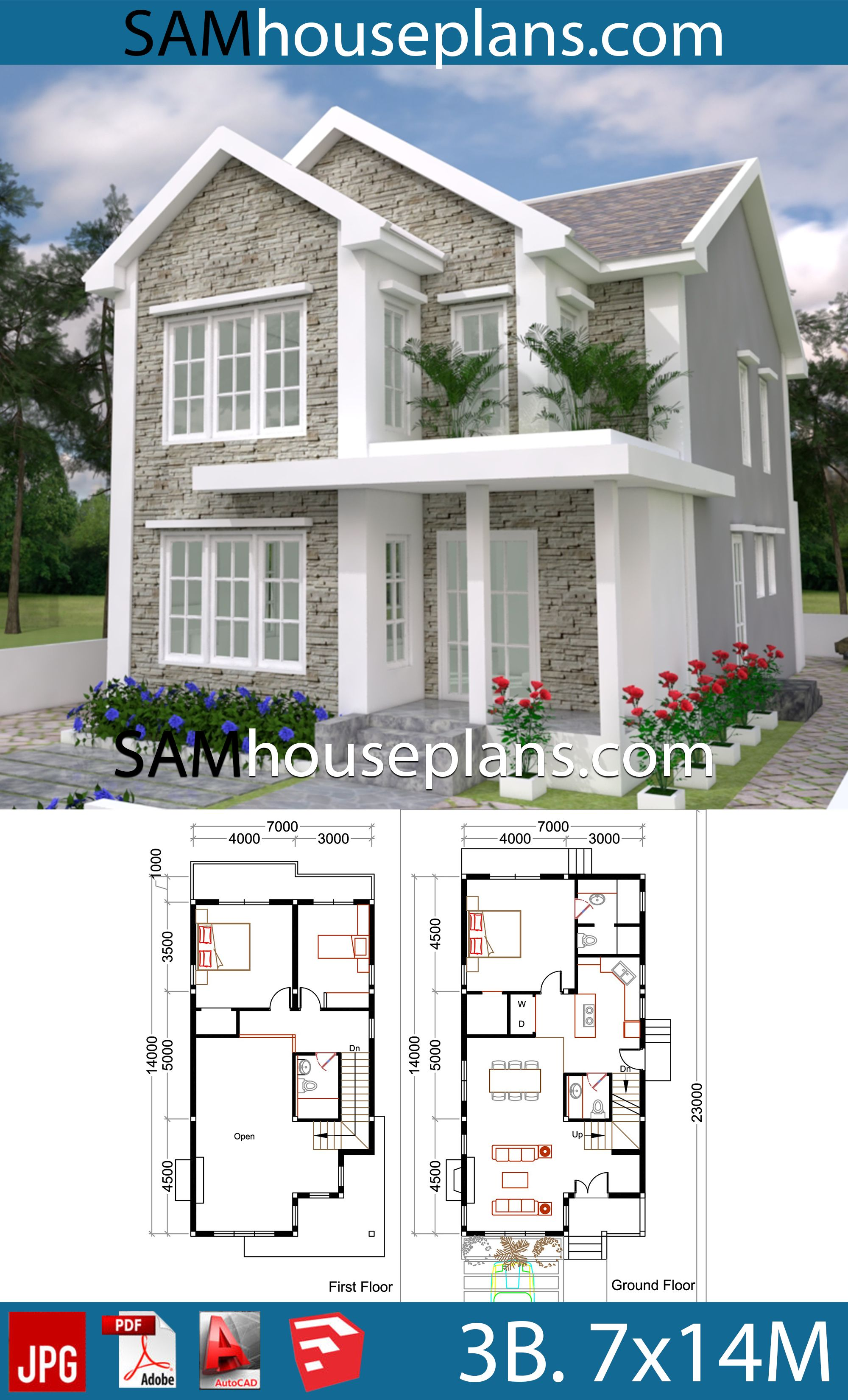 House Plans 7x14 With 3 Bedrooms Sam House Plans House Plans Model House Plan Condo Floor Plans