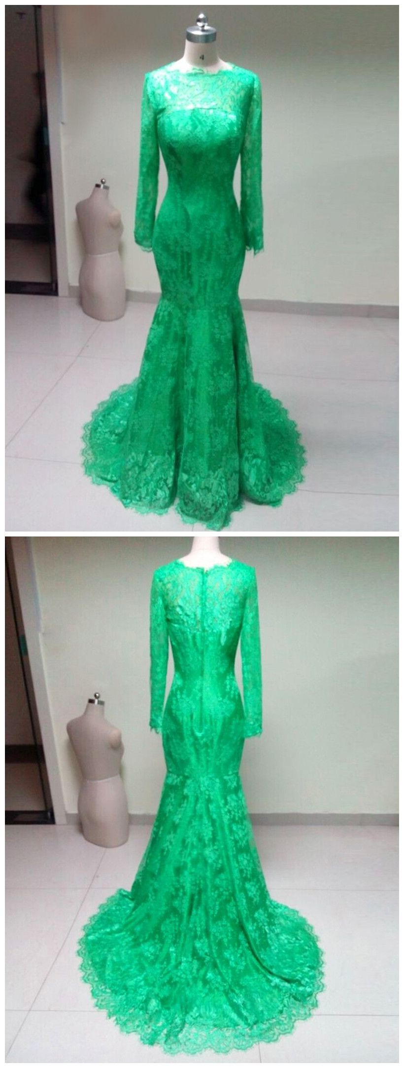 High neck elegant long sleeves green lace mermaid prom dresses