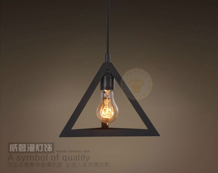 Triangle Pendant Lights Vintage Decorative Style For Bar Coffee Industrial Kind Art Decor Lamps Led Bulbs