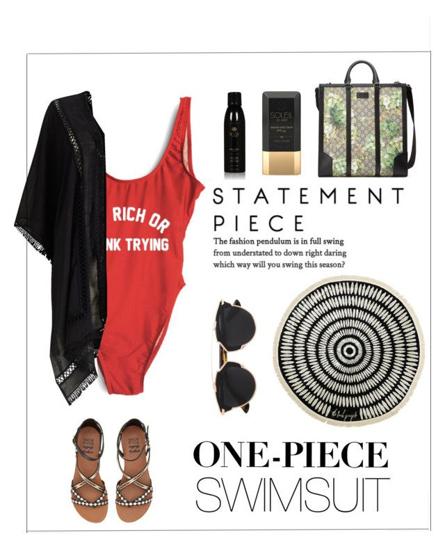 """""""BEACH ON!"""" by gizaboudib ❤ liked on Polyvore featuring Billabong, Gucci, Christian Dior, Soleil Toujours, Phase Eight, The Beach People and onepieceswimsuit"""
