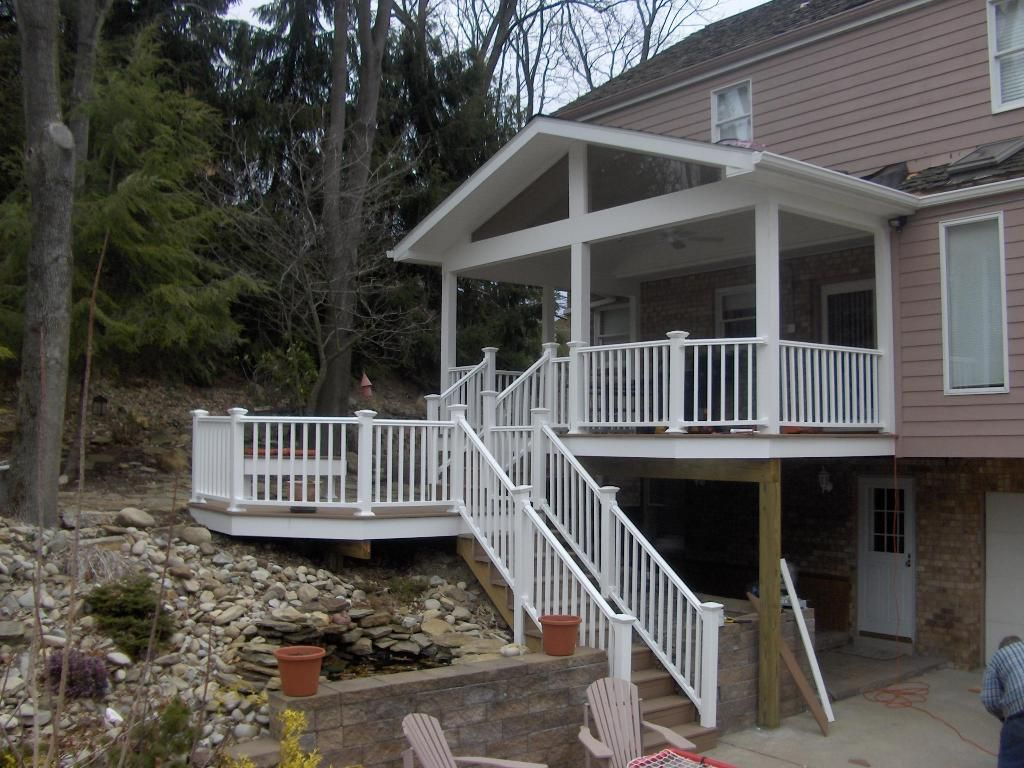 Covered deck designs back porch and trex octagon deck for Back patio porch designs