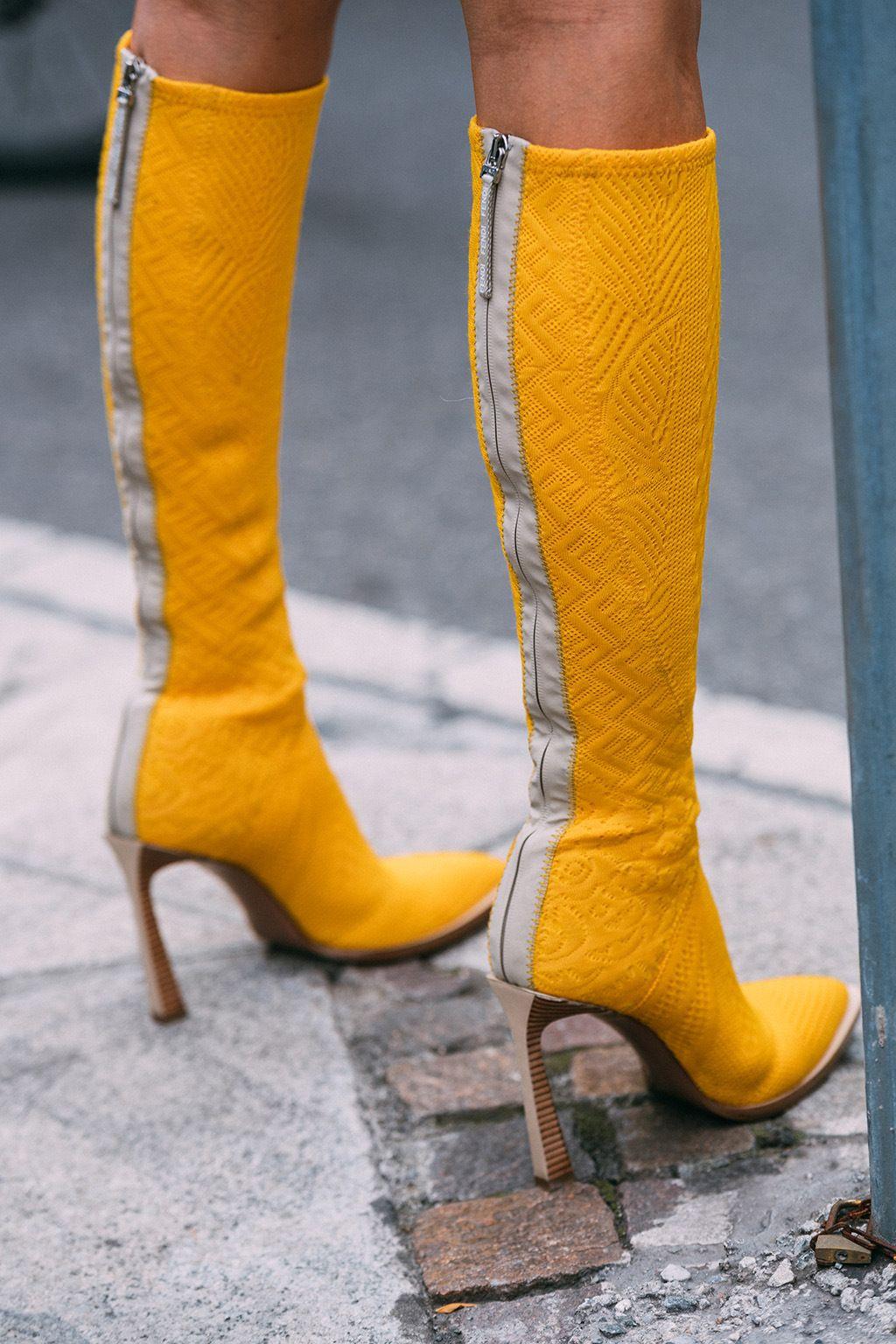 Fendi, yellow boots, Milan fashion week