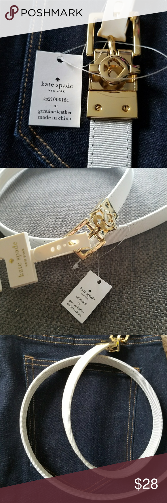 e045a8101bf5 Authentic Kate Spade Off White Leather Belt Size M