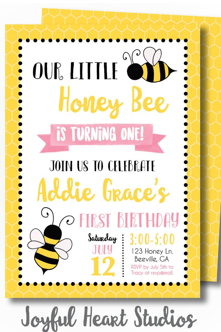 bee birthday invitations