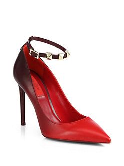 Valentino - Rouge Leather Ankle-Strap Pumps