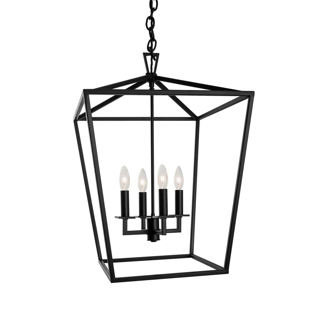 "10264 PC/BK - Trans Globe Lighting 10264 PC/BK Lacey 12"" Indoor Polished Chrome and Black Colonial Pendant - GoingLighting"