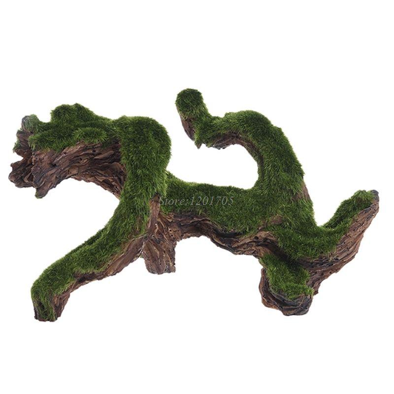 Aquarium Rockery Cave Driftwood Tree With Moss Fish Tank Ornament