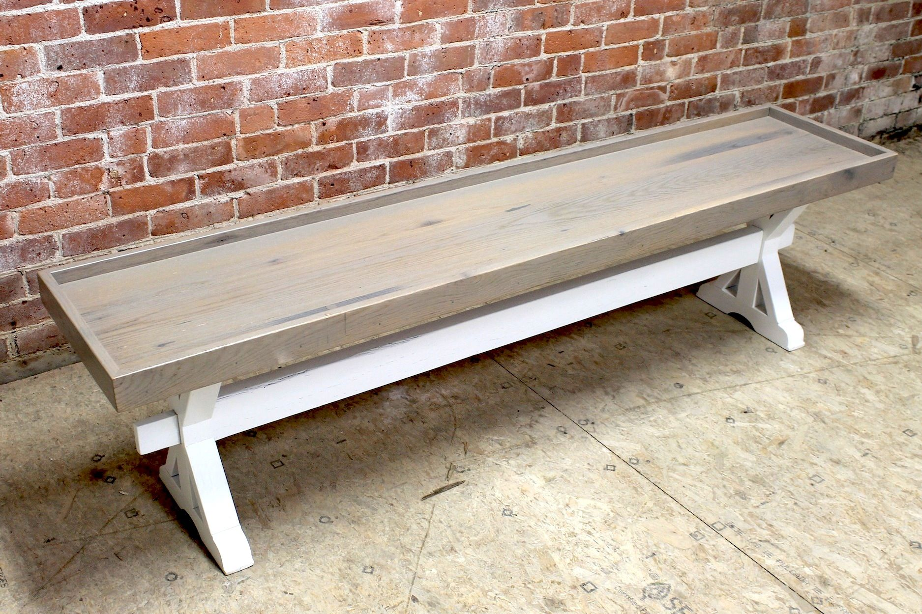 Bench With Lip Made From Reclaimed Barn Wood