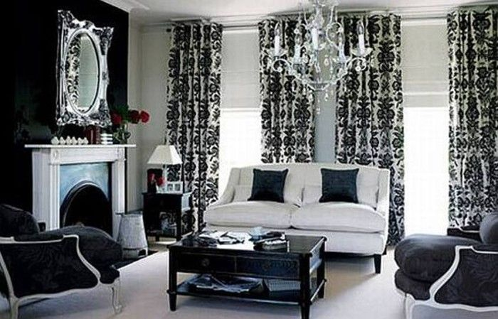 Curtains Ideas black and white damask curtains : 17 Best images about Hollywood Glamour on Pinterest | Upholstered ...