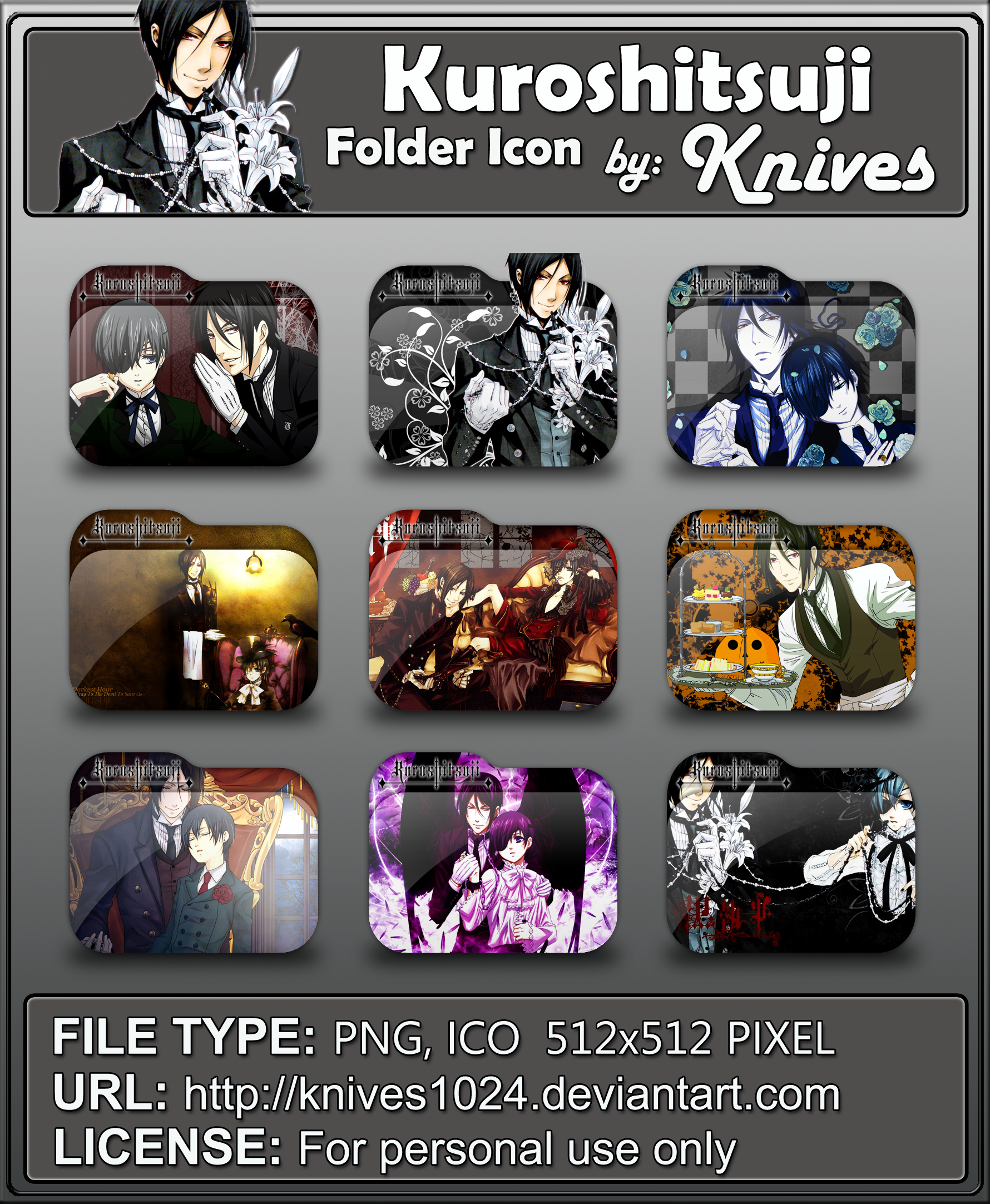 Kuroshitsuji Anime Folder Icon by Knives by knives1024