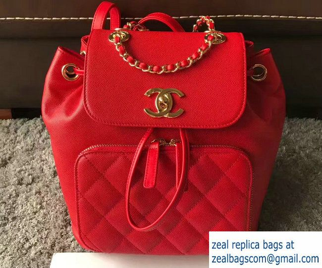 395536ffd649e1 Chanel Grained Calfskin Business Affinity Backpack Bag A93748 Red 2017