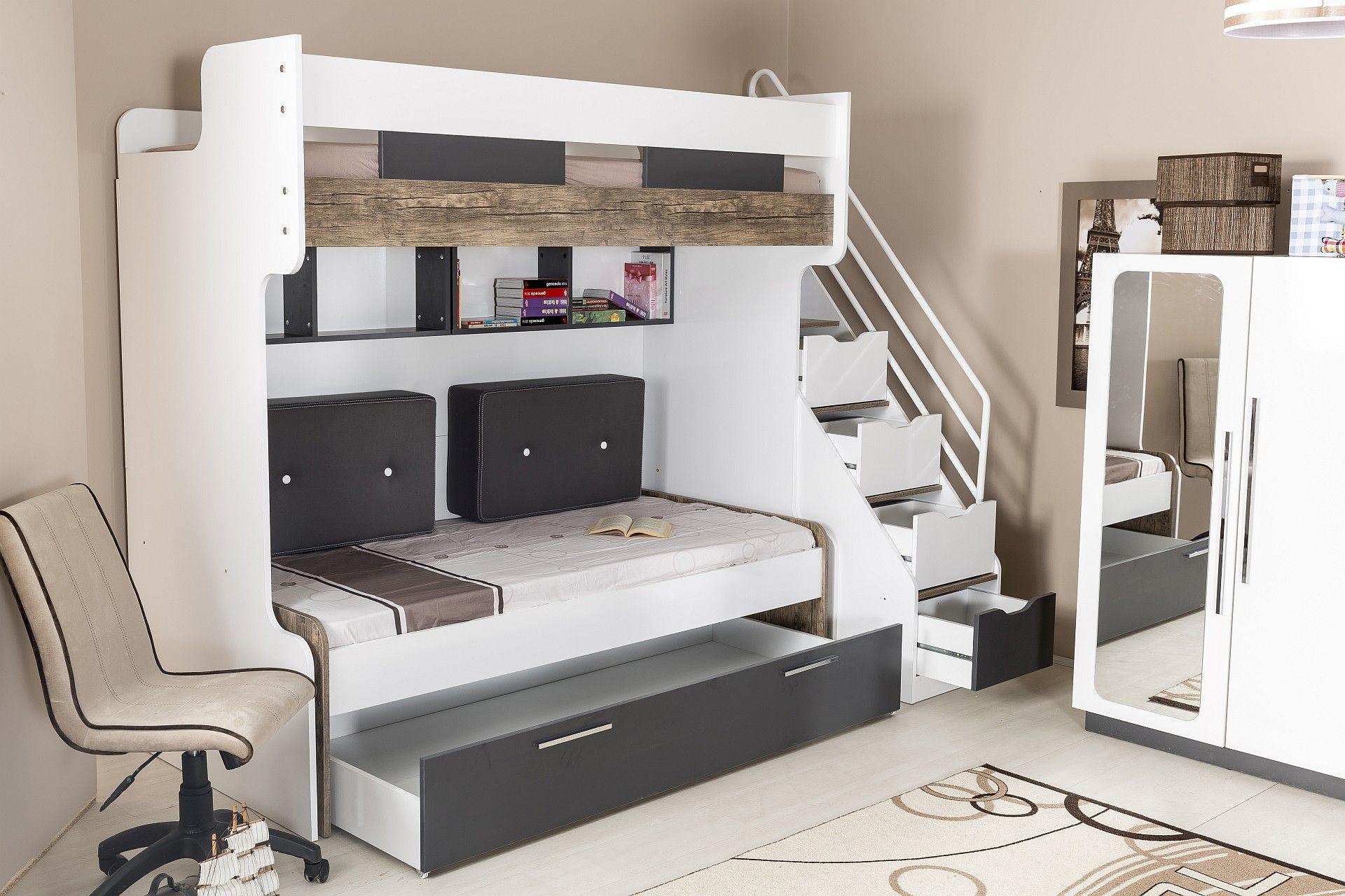 Hochbett Compact 90x200 cm 5teilig, weiß Kinderbed