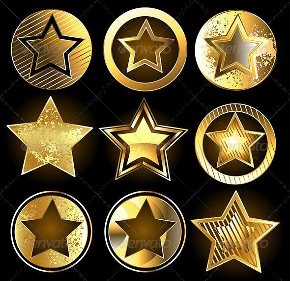 Set Of Military Gold Stars Gold Stars Material Design Background Stock Illustration