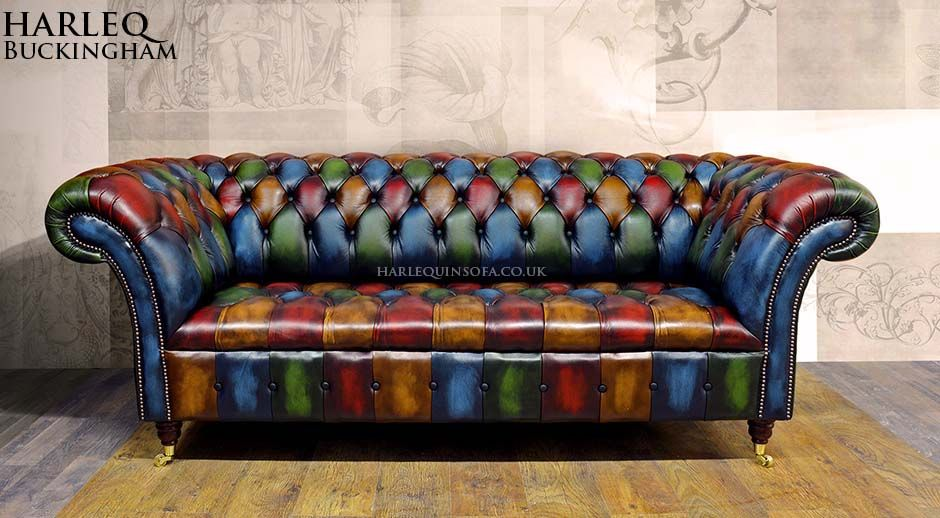 Architecture Patchwork Chesterfield Harlequin Leather Sofa