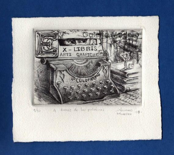 Original Etching. Dry Point. A través de las palabras por GaleriaMadero Title: A través de las palabras (through words) Technique: Etching White paper Size: 17 cm width 14 cm height Print size: 12.5 cm width 8.5 cm height Year: 2009