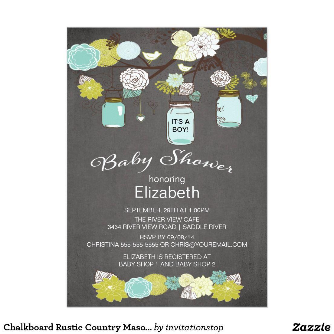 Chalkboard Rustic Country Mason Jar Baby Shower Card | Jars, Masons ...
