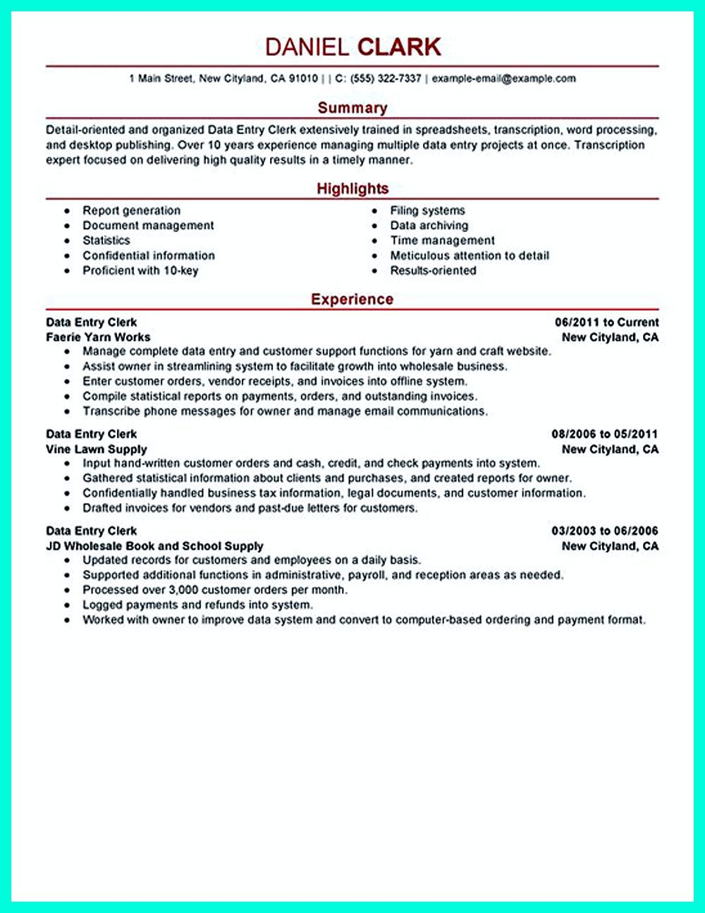 Your Data Entry Resume Is The Essential Marketing Key To Get The Job You  Seek.  Data Entry Resume Example