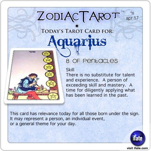 Zodiac Tarot for April 17: Aquarius <br>  http://ifate.com